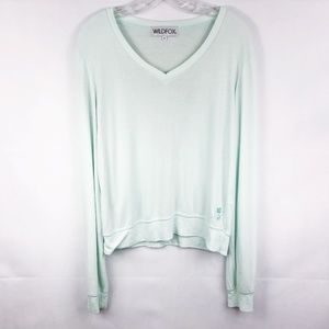 Wildfox | Mint Long Sleeve V-Neck Top